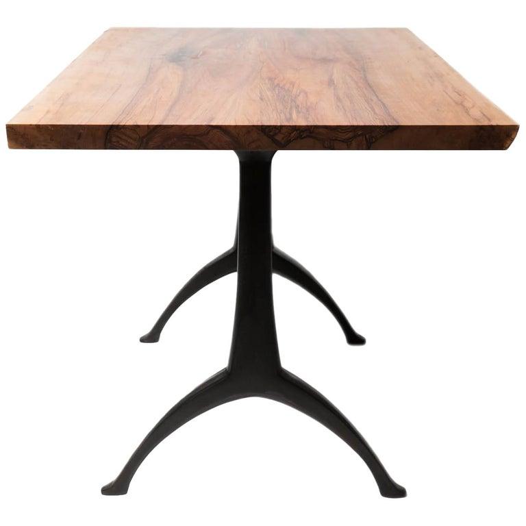 "Live Edge ""Satin Walnut"" Table on Cast Pedestal Black Wishbone Base For Sale"