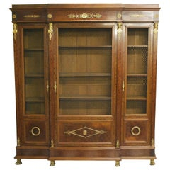 Antique Mahogany French Empire Period Breakfront Bookcase or Bibliotheque