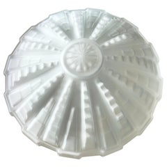 French Art Deco Milk Glass Sculptural Shade, Monumental, Geometric, Art Moderne