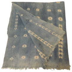 Vintage African Blue and White Yoruba Reversible Artisanal Cloth with Fringes
