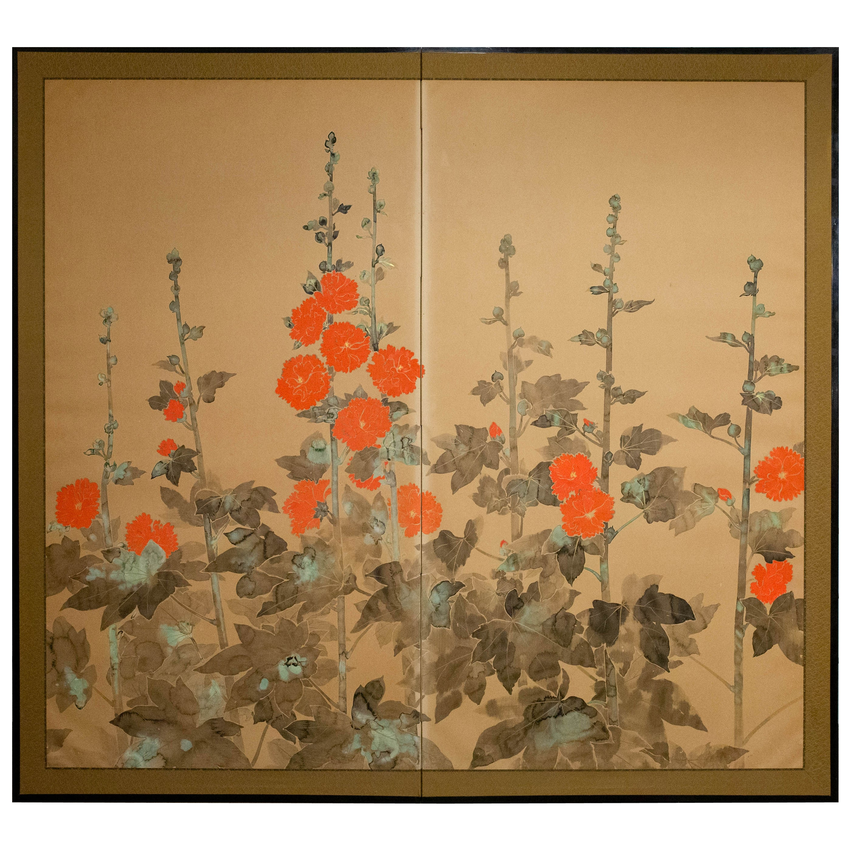 Japanese Two-Panel Screen, Rimpa Style Painting of Hollyhocks