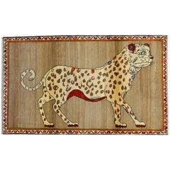 Vintage Persian Qashqai Leopard Animal circa 1930 in Pure Handspun Wool