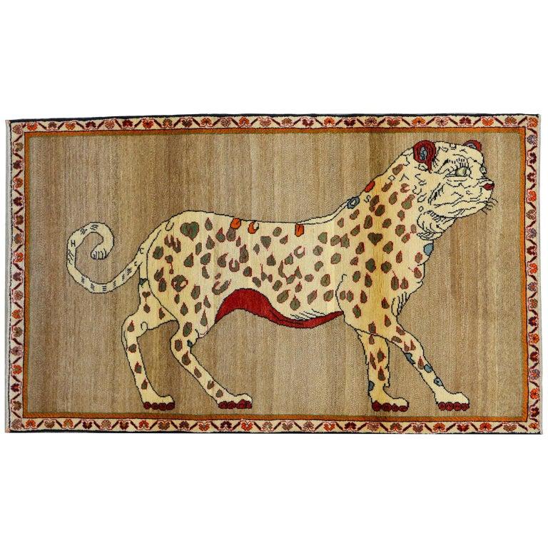 Vintage Persian Qashqai Leopard Animal circa 1930 in Pure Handspun Wool For Sale
