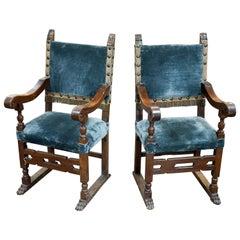 Paar italienische Thron Stühle