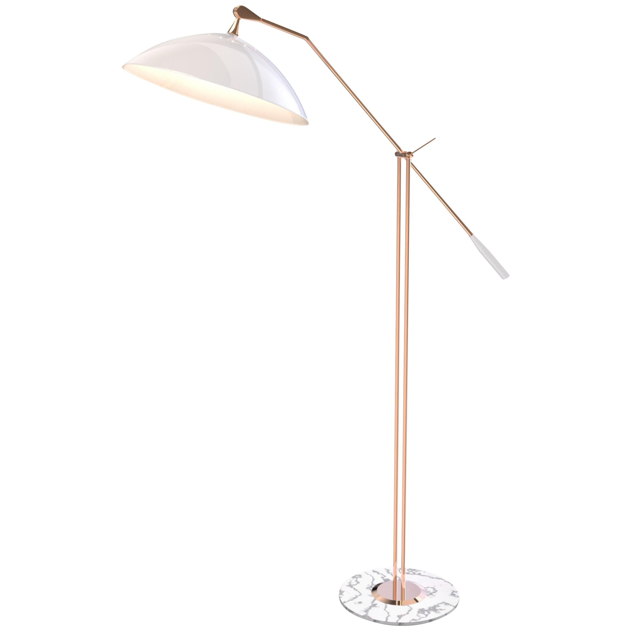 Armstrong Floor Lamp in Copper with White Shade