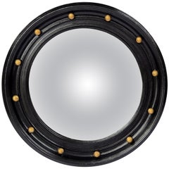 English Round Ebony Black and Gold Framed Convex Mirror (Diameter 14)