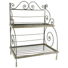 Mid-20th Century French Artisan Made Counter Top Iron and Brass Baker's Rack