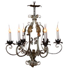 Vintage Country French Six-Light Iron Chandelier with Original Paint
