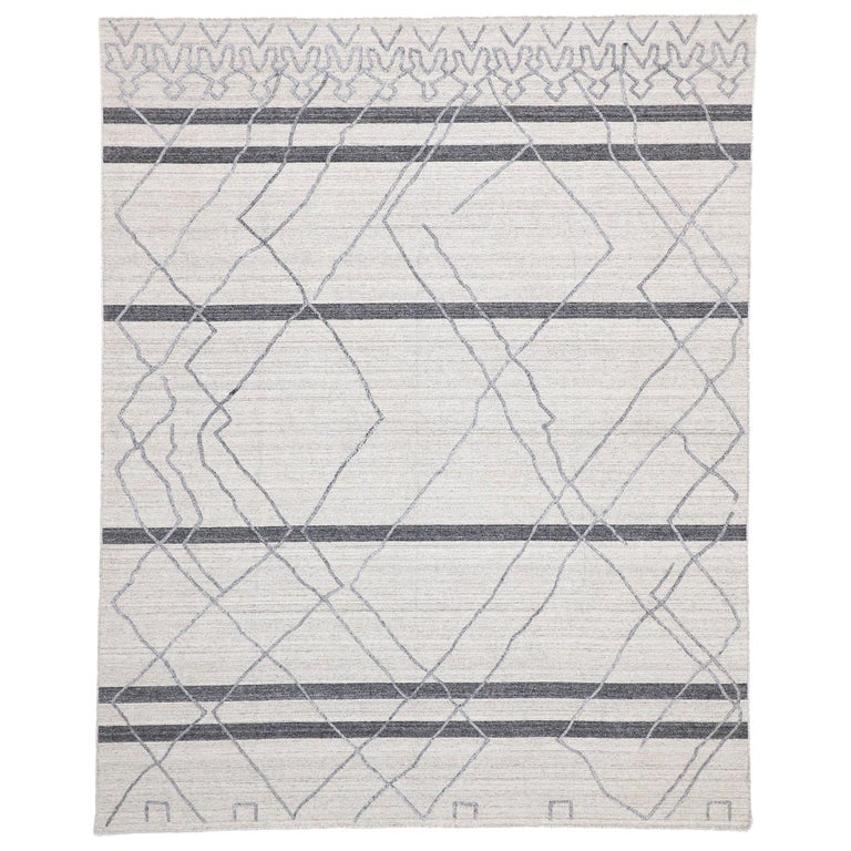Contemporary Gray Modern Moroccan Style Area Rug With Raised Design For