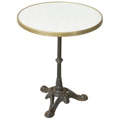 Mid-20th Century French Iron Bistro Table with Faux Marble-Top and Brass Trim