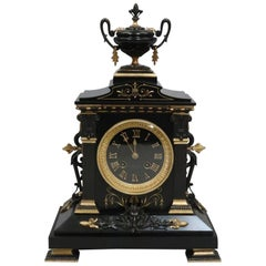 French Neoclassical Style Black Slate and Bronze Gilt Mantel Clock