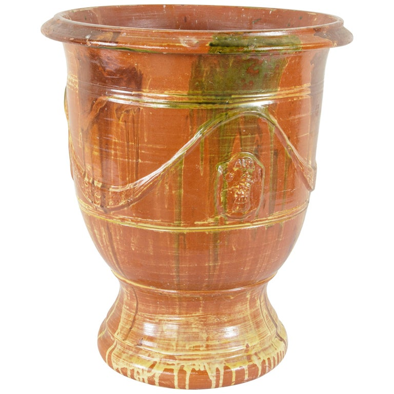 French Faience Anduze Pot Planter Cachepot For Sale