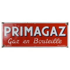 Large Mid-20th Century French Primagaz Enameled Metal Sign