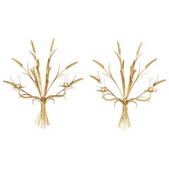 Pair of Mid-20th Century Large Italian Gilt Metal Wall Sconces with Wheat Motif