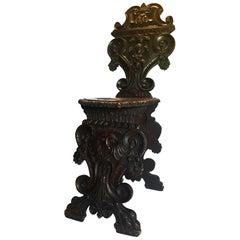 Italian Renaissance Revival Sgabello Chair, circa 1870