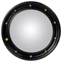 English Round Ebony Black and Gold Framed Convex Mirror (Diameter 15 1/2)