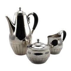 Georg Jensen Three-Piece Coffee Service in Cosmos Pattern