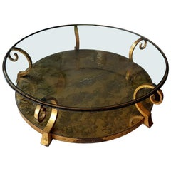 Arturo Pani Mexican Midcentury Bronze and Glass Coffee Table