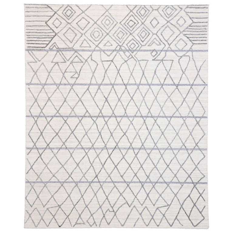 Contemporary Gray Rug With Modern Moroccan Style Texture Area For