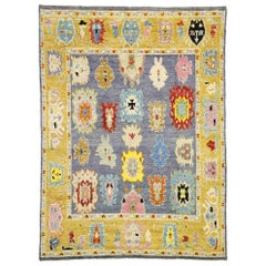 Contemporary Moroccan Area Rug with Oushak Design Pattern and Memphis Style