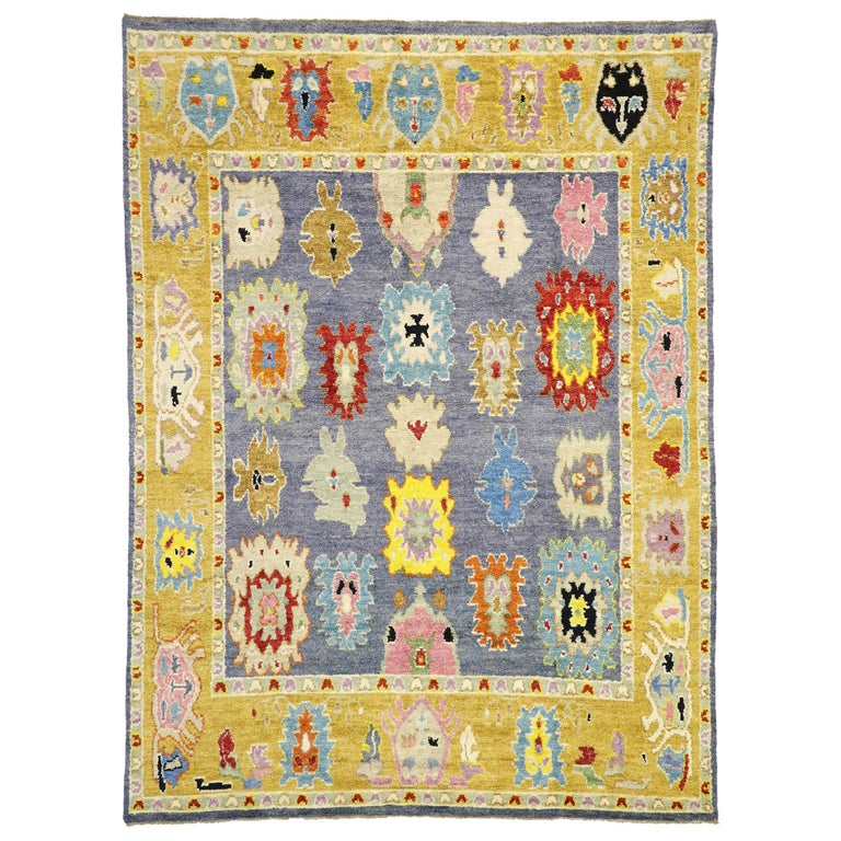 Contemporary Moroccan Area Rug With Oushak Design Pattern