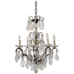 20th Century Antique Brass and Crystal Chandelier