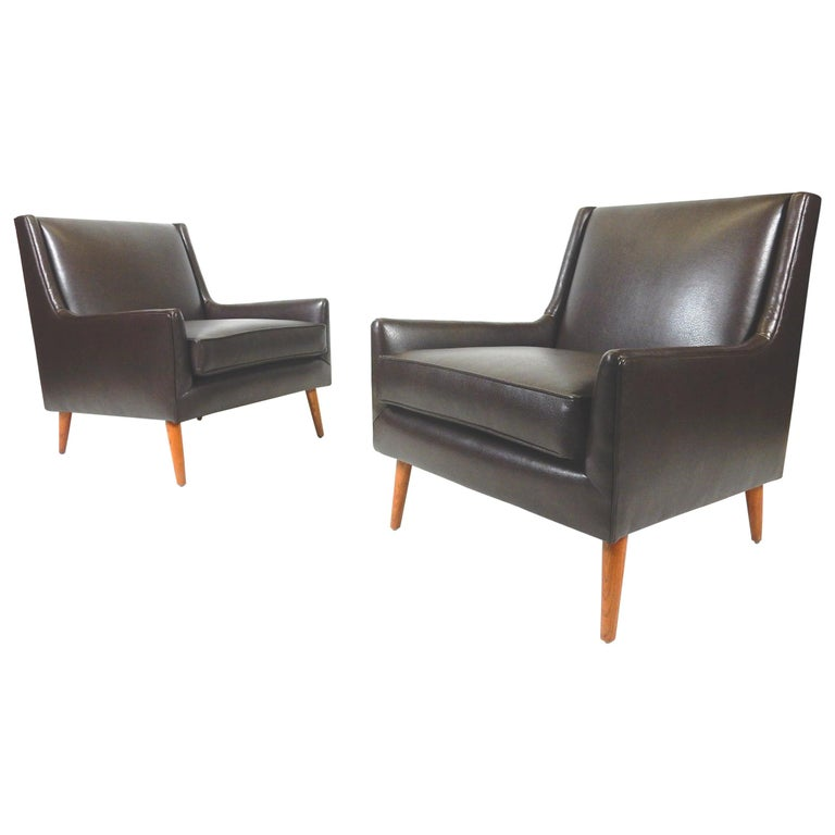Pair of 1950s Mid-Century Modern Lounge Chairs, Edward Wormley For Sale