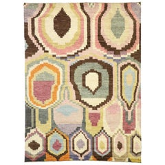 Contemporary Moroccan Area Rug with Postmodern Style and Warm Pastel Colors