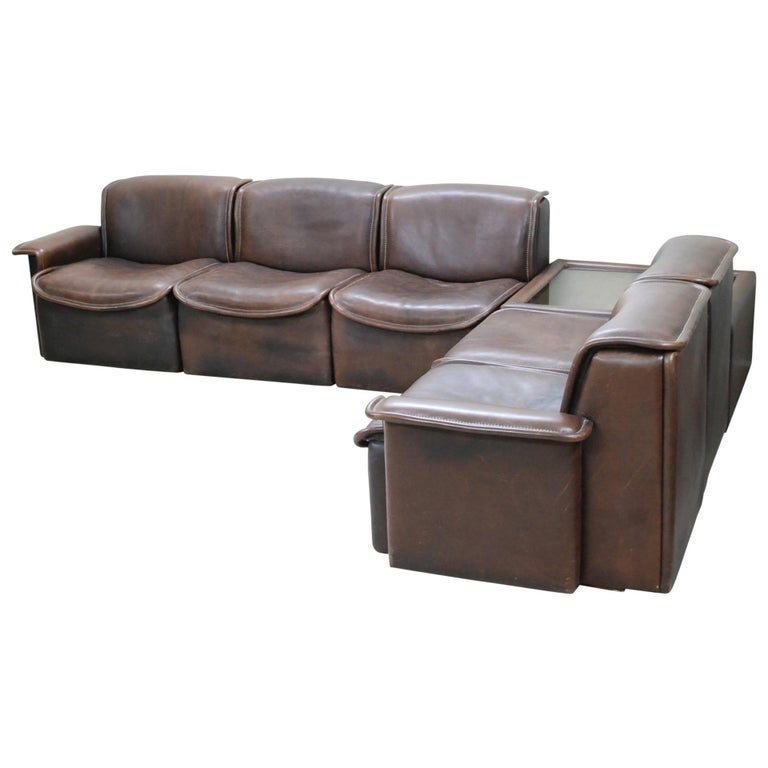 De Sede DS 12 Module Vintage Neck Leather Sofa Brown and Coffeetable 1