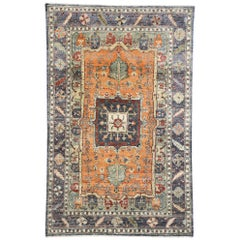 Contemporary Silk Area Rug with Heriz Pattern and Arts & Craft Artisan Style