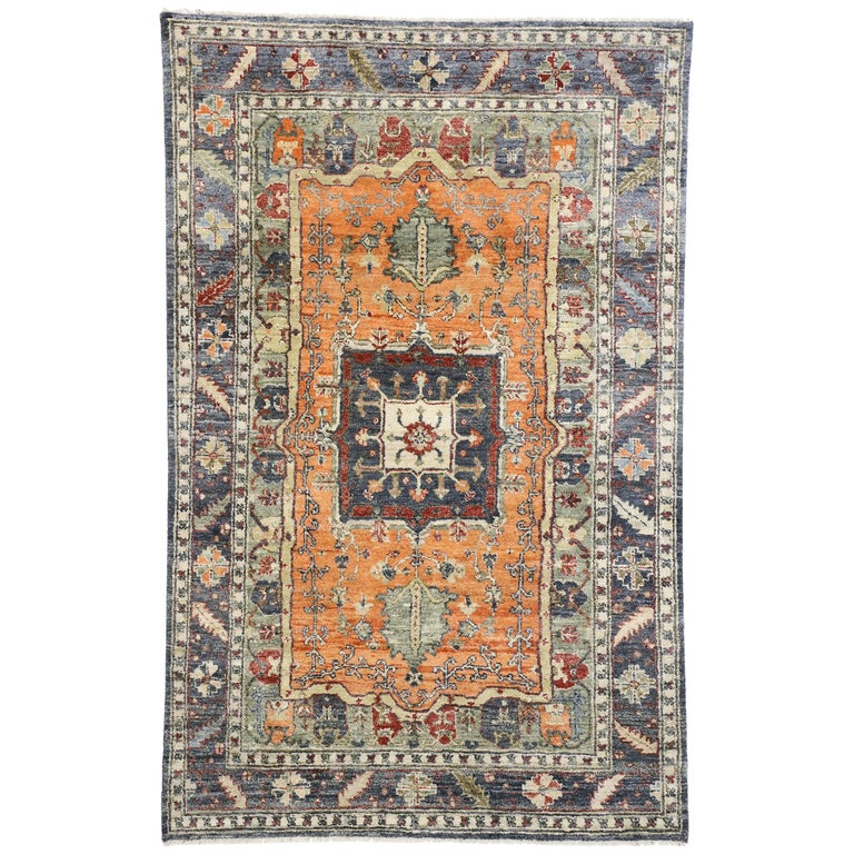 Contemporary Silk Area Rug with Heriz Pattern and Arts & Craft Artisan Style For Sale