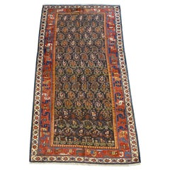 Antique Karabagh Persian Carpet circa 1870 in Handspun Wool with Paisley Design