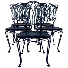 1950s Wrought Iron Mesh Floral and Vine Chairs by Woodard-S/5