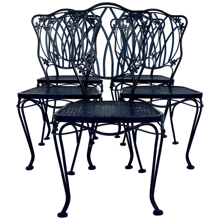 1950s Wrought Iron Mesh Floral and Vine Chairs by Woodard-S/5 For Sale
