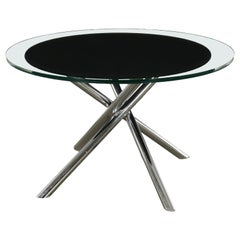 Table Wood Glass Top Chromed Metal Vintage, Italy, 1970s