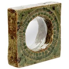 Midcentury Stoneware Green Ceramic Mirror by Barbara Delfosse Wall Decoration