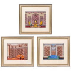 Set of Three American Art Deco Framed Gouaches of Interiors, circa 1930