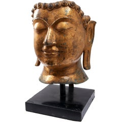 Large Thai Gilt Bronze Sculpture of Buddha's Head, circa 1900