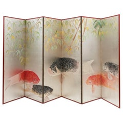 Japanese Six-Fold Paper Screen of Carps on Silver Ground, Early 20th Century