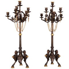 Rare Pair of Neo-Greek Candelabra Attributed to F. Barbedienne