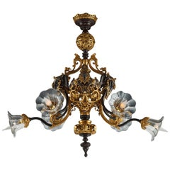 Elegant Oriental Style Chandelier Attributed to Marnyhac
