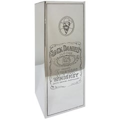 "20th Century Italian Silver Engraved Whisky Bottle Holder ""Jack Daniel's"""