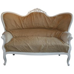 Louis Philippe Sofa in White, France, 19th Century, Prepared for Reupholstering