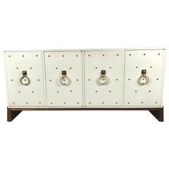 Tommi Parzinger Lacquer and Studded Brass Four-Door Cabinet, Parzinger Originals