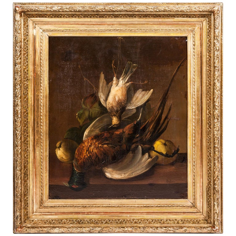 19th Century Pair of Still Lifes Oil on Canvas Paintings For Sale