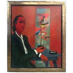 Modernist Oil on Canvas Painting by Martha Visser't Hooft,Self Portrait, 1951