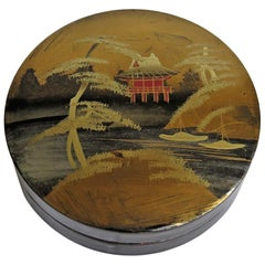 Japanese Laquered Box and Lid Hand Painted Scene, Meiji Period, circa 1900