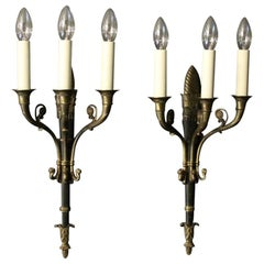 French 19th Century Pair of Gilded Antique Wall Lights