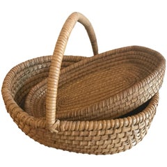 Two Vintage Belgian Farm Baskets, circa 1920