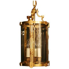 French Gilded Bronze Triple Light Antique Convex Hall Lantern